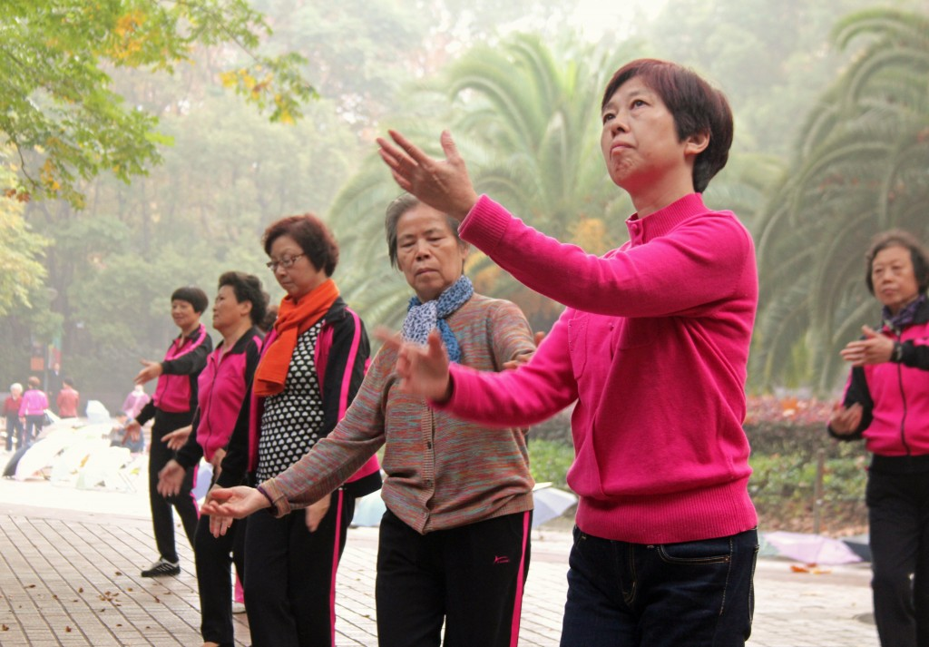 Women dance as a form of exercise in People's Park in Shanghai, China, in November 2014. Photo by Larisa Epatko/PBS NewsHour