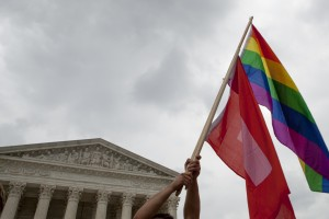 File photo of a gay rights flag in front of the Supreme Court building in Washington, D.C., by Michael Rowley/AFP/Getty Images