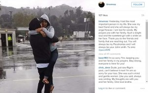 "Gonzalez's boyfriend, Tim Mraz, wrote on Instagram that she was his ""best friend."" Screengrab via Instagram."