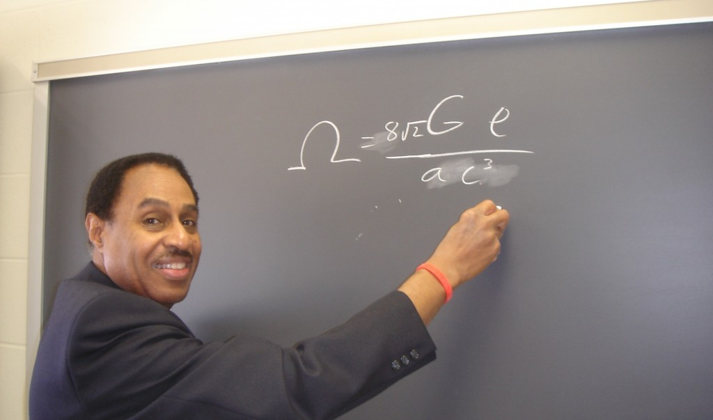 Ronald Mallett and his space twisting equation. Courtesy of Ronald Mallett