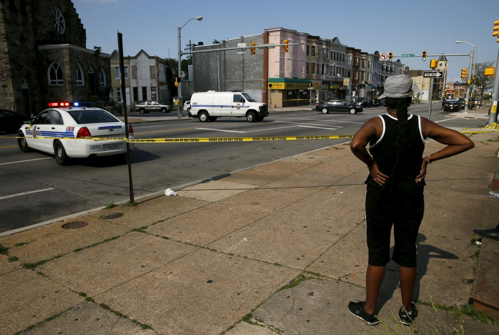File photo of neighborhood where Freddie Gray was arrested and where residents rioted over his death by Jim Bourg/Reuters