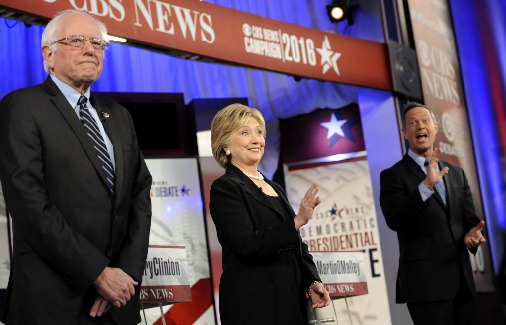 Democratic U.S. presidential candidates Sen. Bernie Sanders, former Secretary of State Hillary Clinton and former Maryland Gov. Martin O'Malley. Photo by Mark Kauzlarich/Reuters