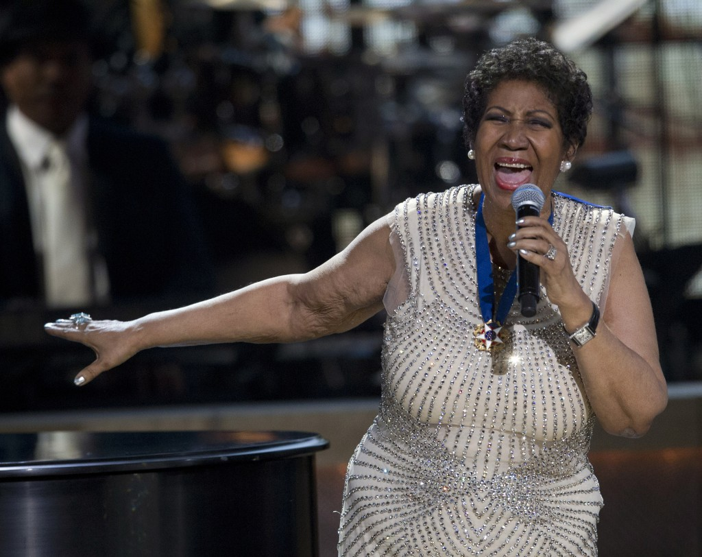 BET honoree singer Aretha Franklin performs onstage at BET Honors 2014 at Warner Theatre in Washington, D.C.. Photo by Jose Luis Magana/Reuters