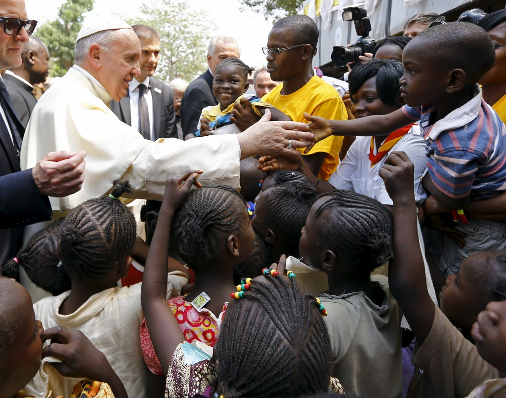 "Pope Francis shakes hands with children as he visits the refugee camp of Saint Sauveur in the capital Bangui, Central African Republic on Sunday. Reuters/Stefano Rellandin"" width=""244"" height=""192"" /> Pope Francis shakes hands with children as he visits the refugee camp of Saint Sauveur in the capital Bangui, Central African Republic on Sunday. Reuters/Stefano Rellandin"
