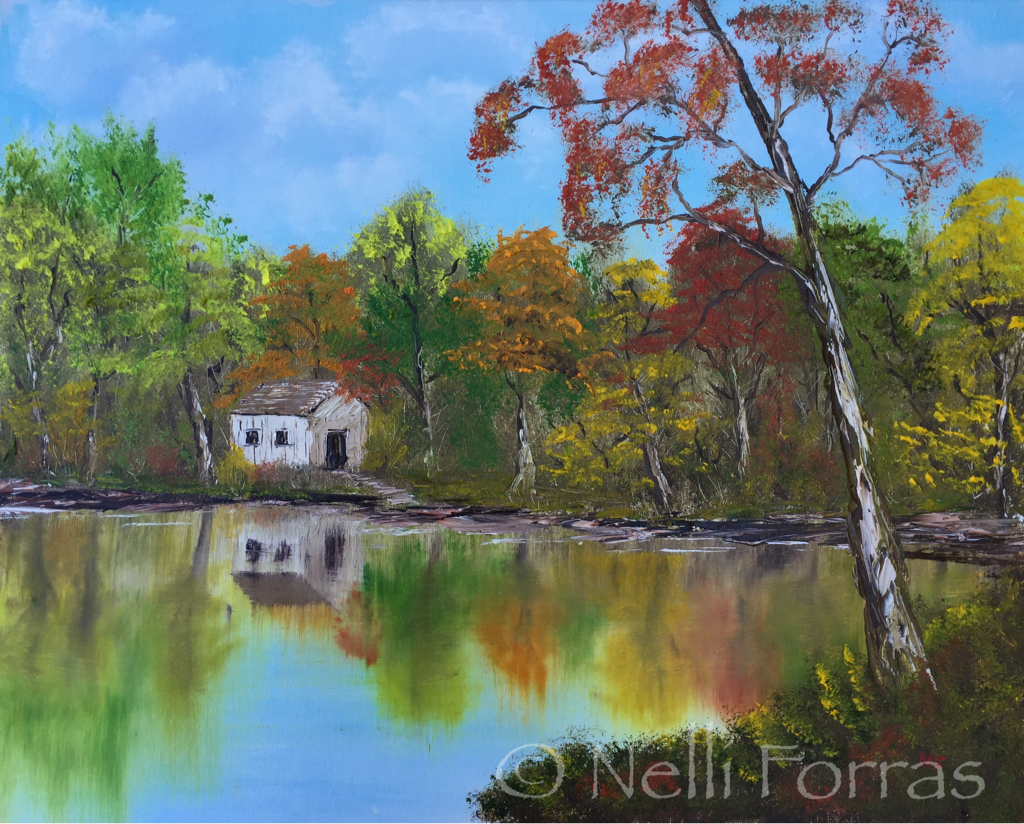 Viewer Nelli Forras recently received oil paints for her birthday, and has been painting along with Bob Ross. This is her submission for the #BobRossChallenge. Photo courtesy of Nelli Forras.