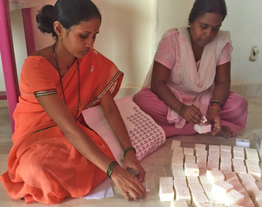 Women in India package soap for Sundara, a nonprofit that teaches underserved communities about the importance of using soap to prevent disease. Photo courtesy of Sundara