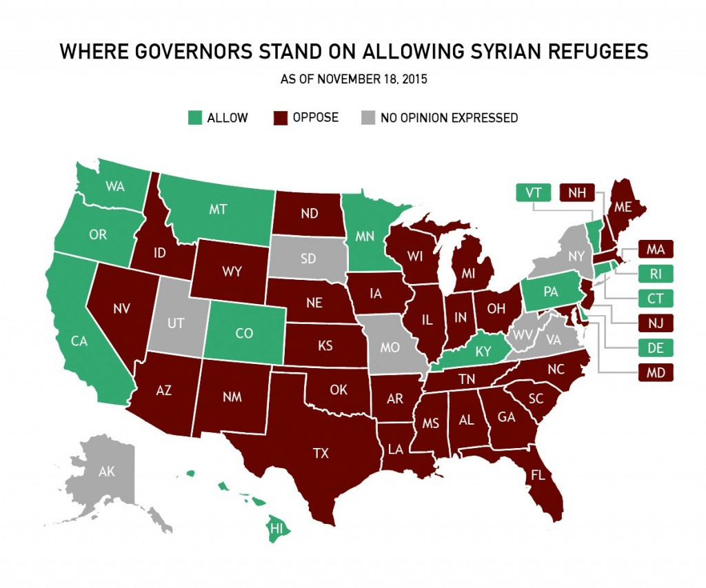Which States Are Saying No To Resettlement Of Syrian Refugees - Us-governors-map