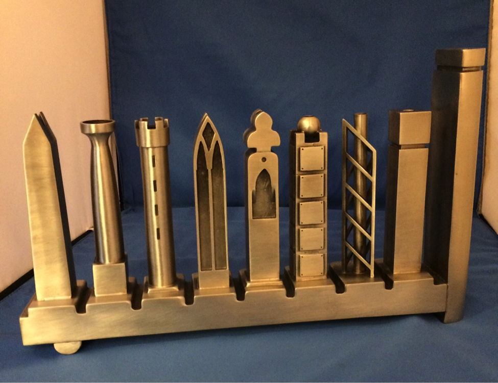 This menorah was created by Richard Meier, a Pritzker Architecture Prize winner.
