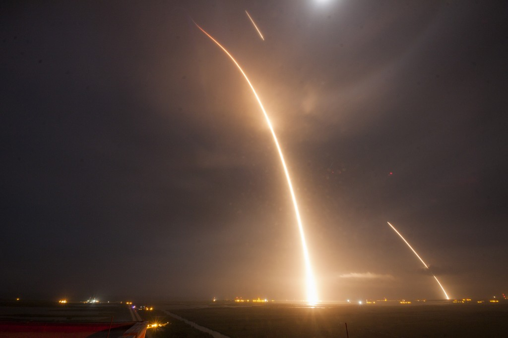 Composite image of the launch, re-entry, and landing burns for SpaceX's Falcon-9 rocket on December 21, 2015. The rocket's booster became the first to gently landed after delivering cargo to space. Photo by SpaceX