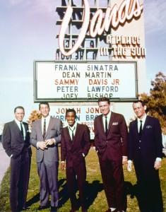 LAS VEGAS - 1962:  Entertainers and members of the Rat Pack, Frank Sinatra, Dean Martin, Sammy Davis, Jr., Peter Lawford and Joey Bishop, pose for a portrait outside The Sands Hotel and casino in circa 1962 in Las Vegas, Nevada. (Photo by Michael Ochs Archives/Getty Images)