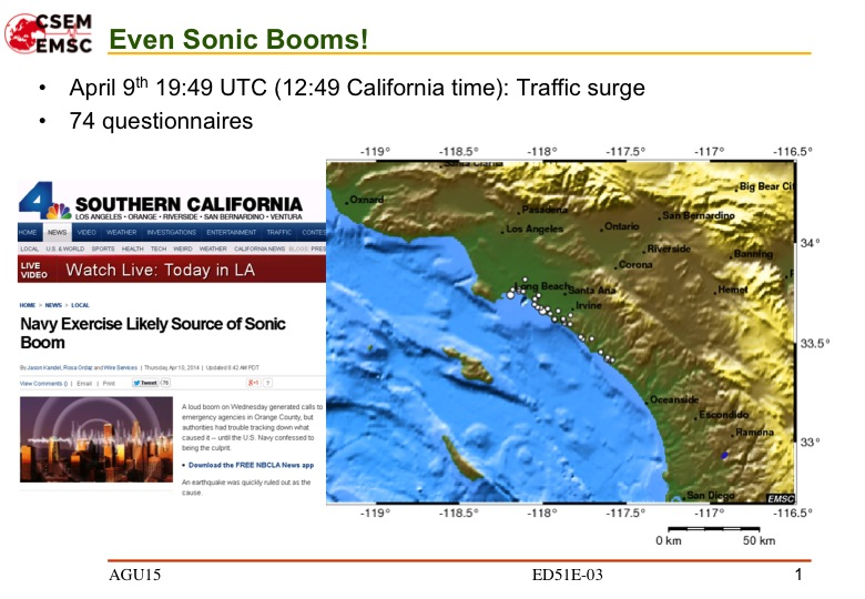 A slide from Rémy Bossu's LastQuake presentation shows how the app registered a web traffic spike in response to a Navy aerial exercise along the California coast in April 2014. Courtesy of Rémy Bossu