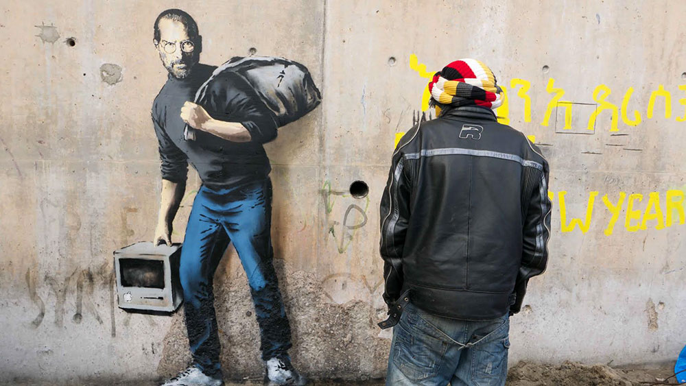 New Banksy Mural Portrays Steve Jobs As A Refugee Pbs Newshour