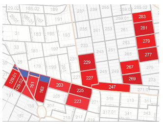 Please note that the blue shaded area is the project site, the red constitutes the census tracts that were used to calculate the TEA.  Map by Abby Weissman for Atlantic Yards/Pacific Park Report.