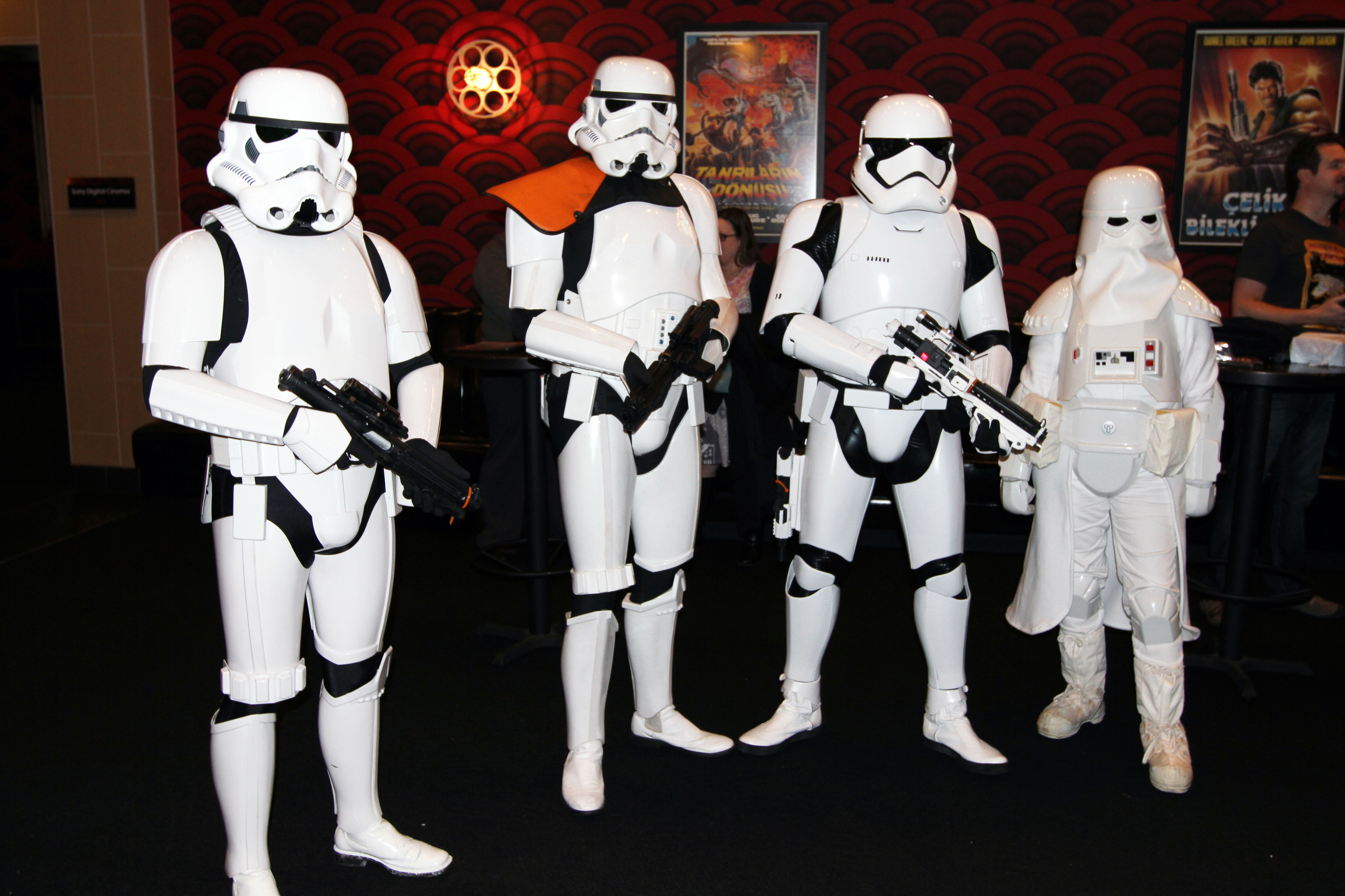 "Members of the 501st Legion attend movie premieres and charity events. Lori Frye (right) says the public will often joke, ""Aren't you a little short for a Stormtrooper?"" -- Princess Leia's famous line when Luke Skywalker bursts into her prison cell in disguise. Photo by Larisa Epatko"