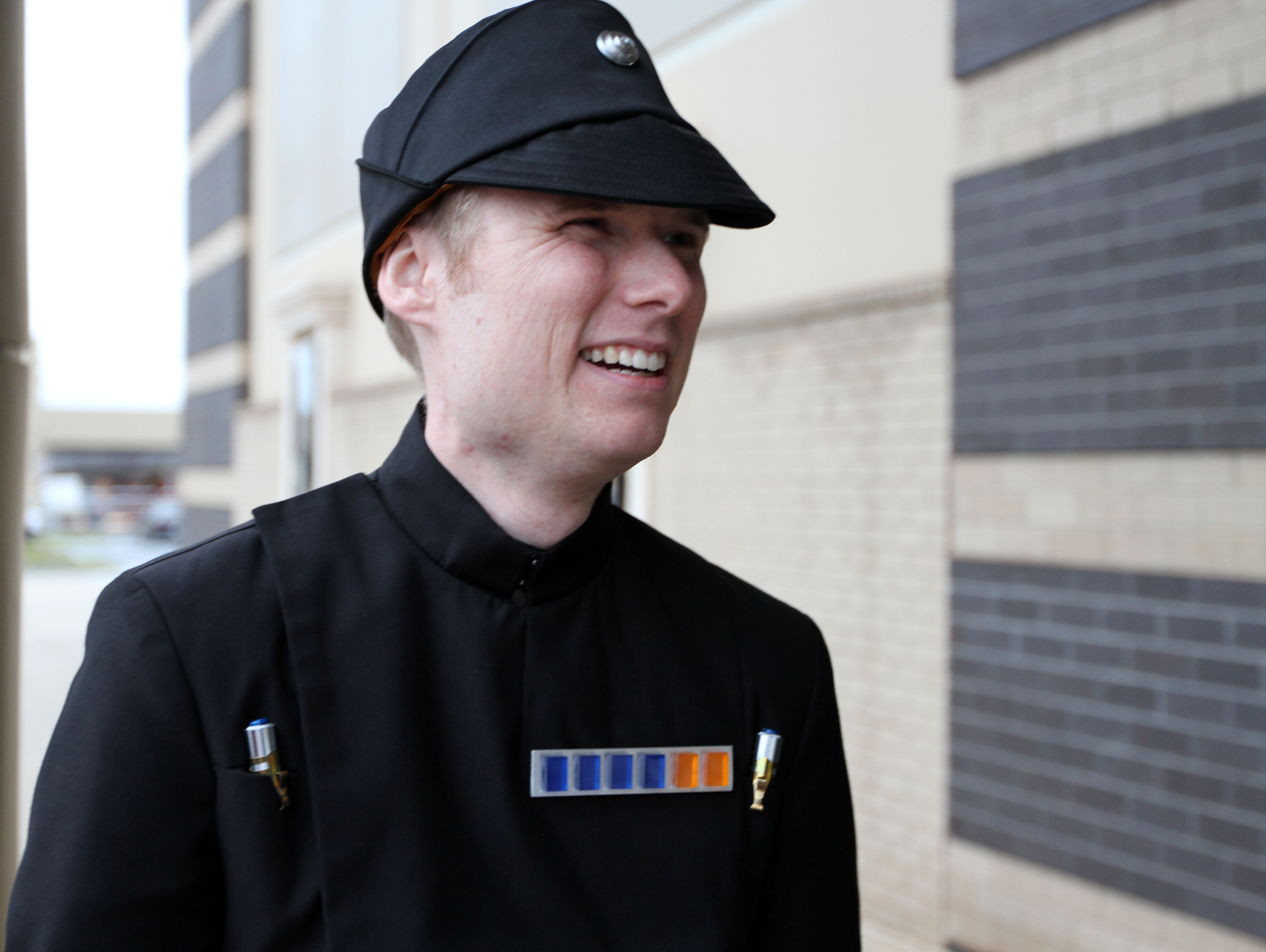 "Imperial officer Christopher Brown says he enjoys personifying one of Darth Vader's officers. ""'Empire Strikes Back' blew my mind,"" he says. Photo by Larisa Epatko"