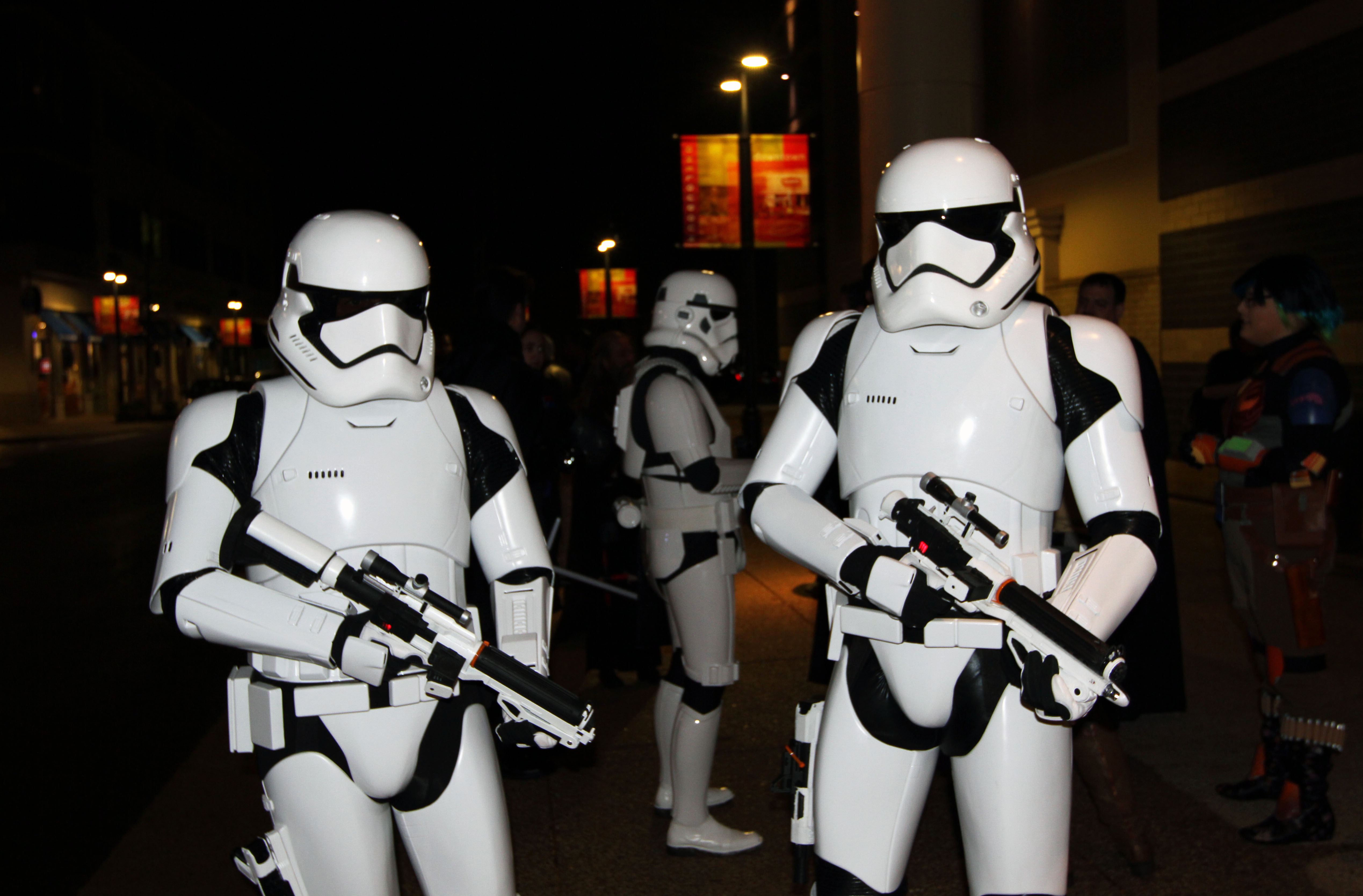 "A gaggle of Stormtroopers with the 501st Legion await guests at the opening of ""Star Wars: Episode VII The Force Awakens"" at the Alamo Drafthouse Cinema in Ashburn, Va., on Dec. 17. Photo by Larisa Epatko"