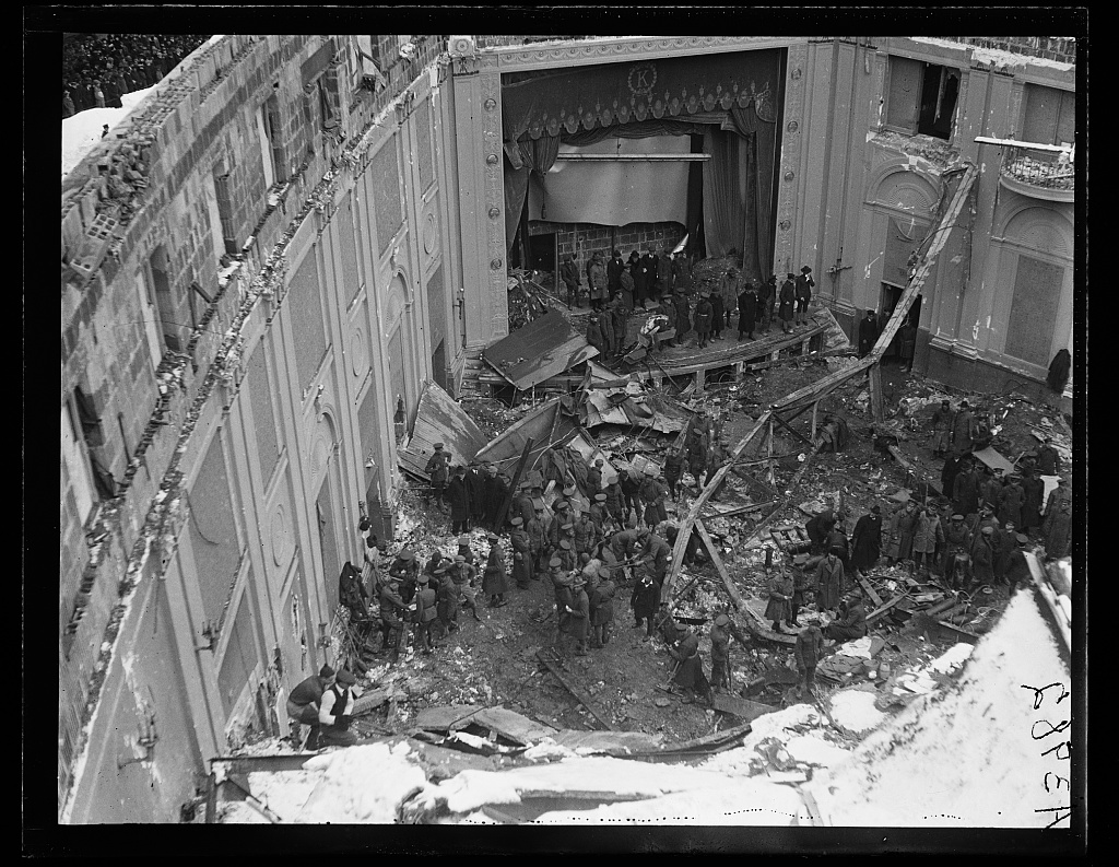 Collapsed roof following snow storm on January 28, 1922. Knickerbocker Theater located on the southwest corner of 18th Street and Columbia Road, N.W., Washington, D.C. Harris & Ewing Collection (Library of Congress)