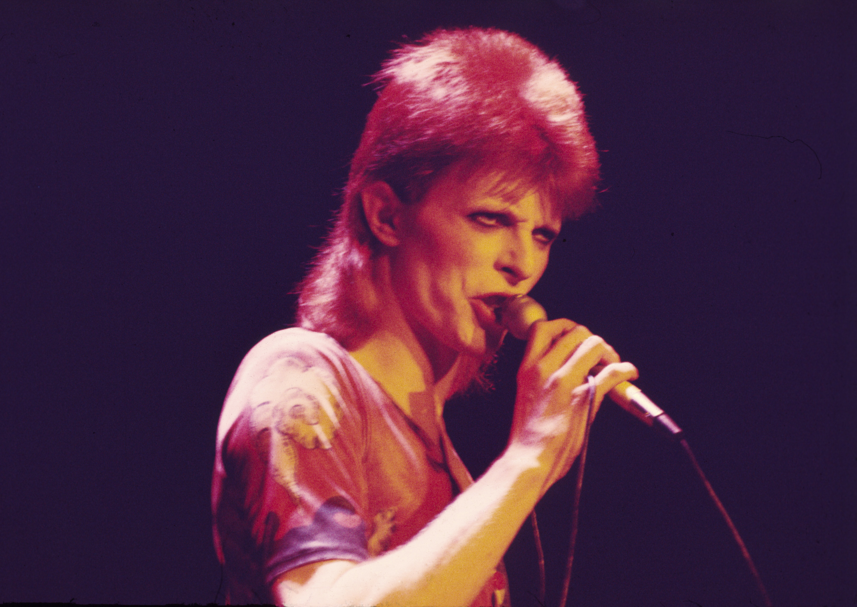 David Bowie performs as Ziggy Stardust in 1973. Photo by: Chris Walter/WireImage