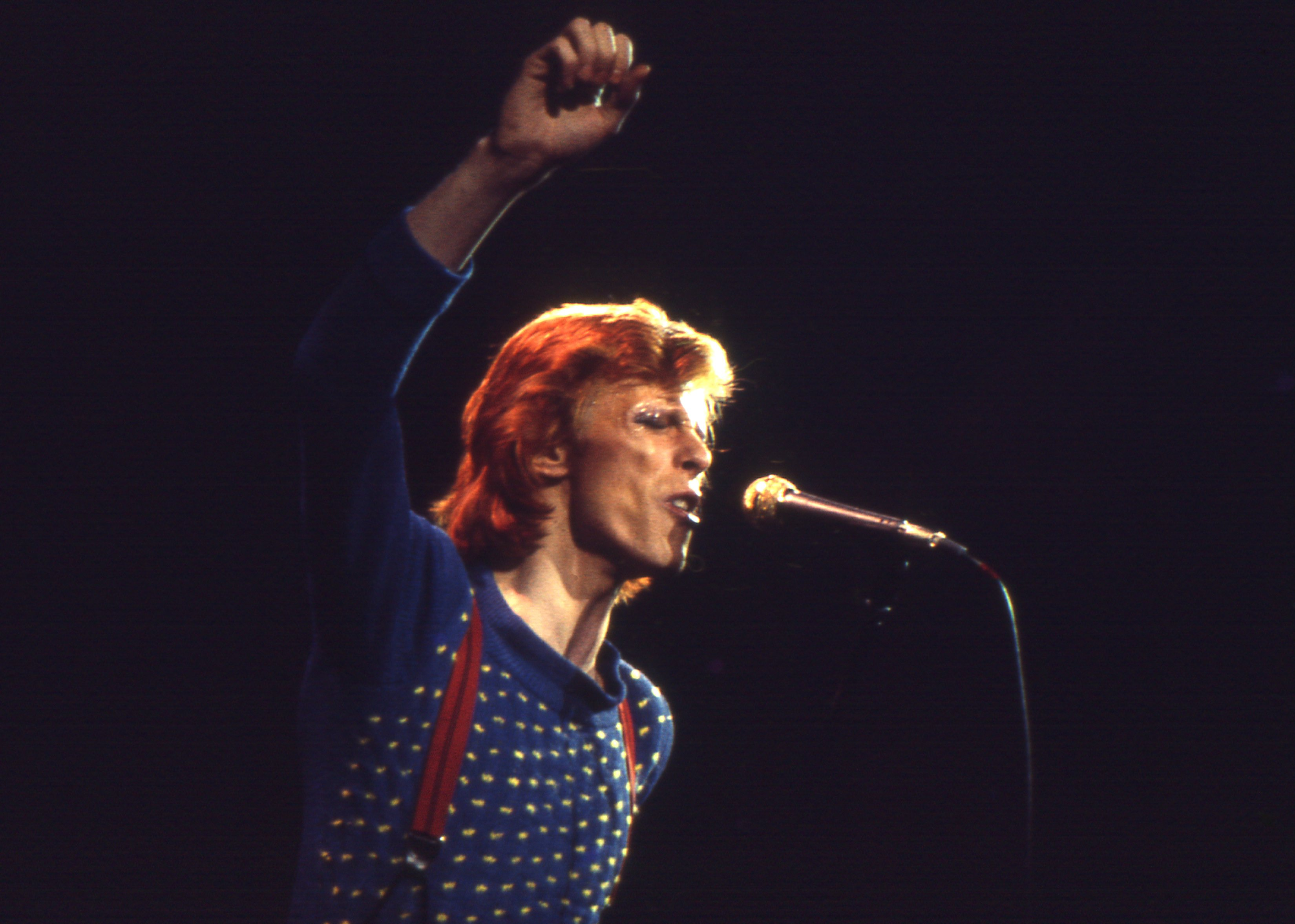 David Bowie performs in Nashville on June 29, 1974 during his Diamond Dogs tour. Photo by: Beth Gwinn/Getty Images