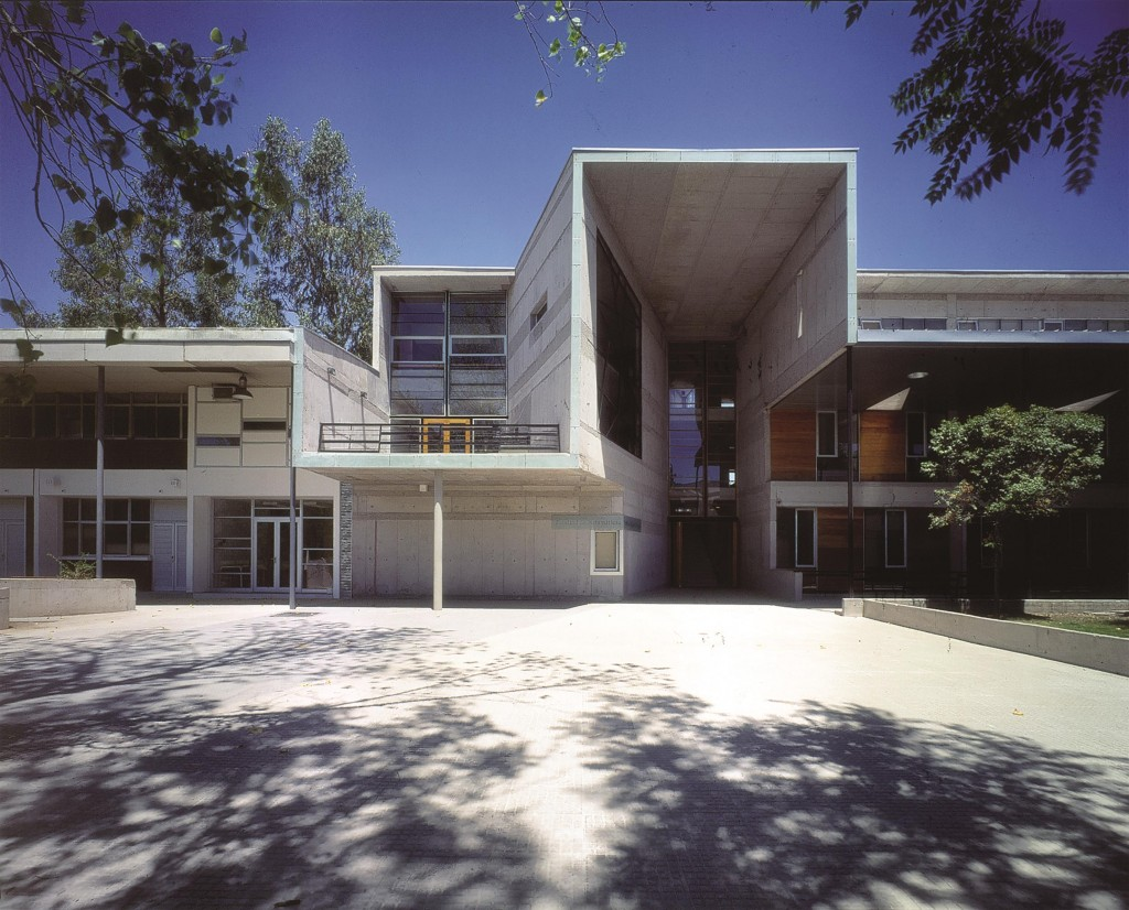 Aravena designed several structures for the Universidad Católica de Chile, including the Mathematics Building, pictured here. Photo by Cristobal Palma