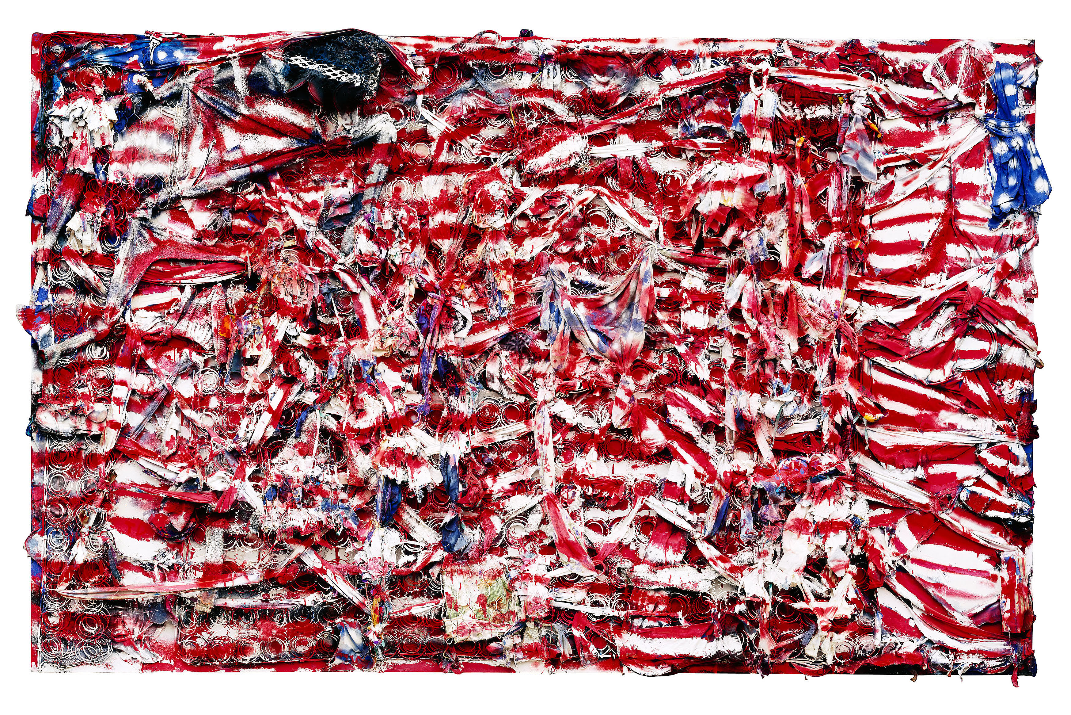 """""""Don't Matter How Raggly The Flag, It Still Got To Tie Us Together,"""" 2003. © Thornton Dial, image by Stephen Pitkin/Pitkin Studio. Collection of the Indianapolis Museum of Art"""