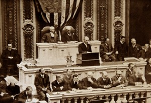 President Woodrow Wilson addresses Congress in December 1915 during the State of the Union address.. Photo by Universal History Archive/UIG via Getty Images