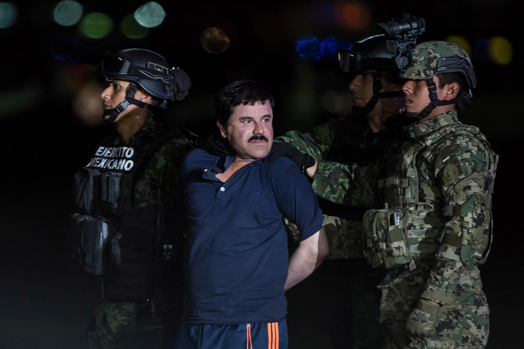 "MEXICO CITY, MEXICO - JANUARY 8: Joaquin Guzman Loera, also known as ""El Chapo"" is transported to Maximum Security Prison of El Altiplano in Mexico City, Mexico on January 08, 2016. Guzman Loera, leader of Mexico's Sinaloa drug Cartel, was considered the Mexican most-wanted drug lord. Mexican marines captured ""El Chapo"" on Friday in Sinaloa, North of Mexico. (Photo by Daniel Cardenas/Anadolu Agency/Getty Images)"