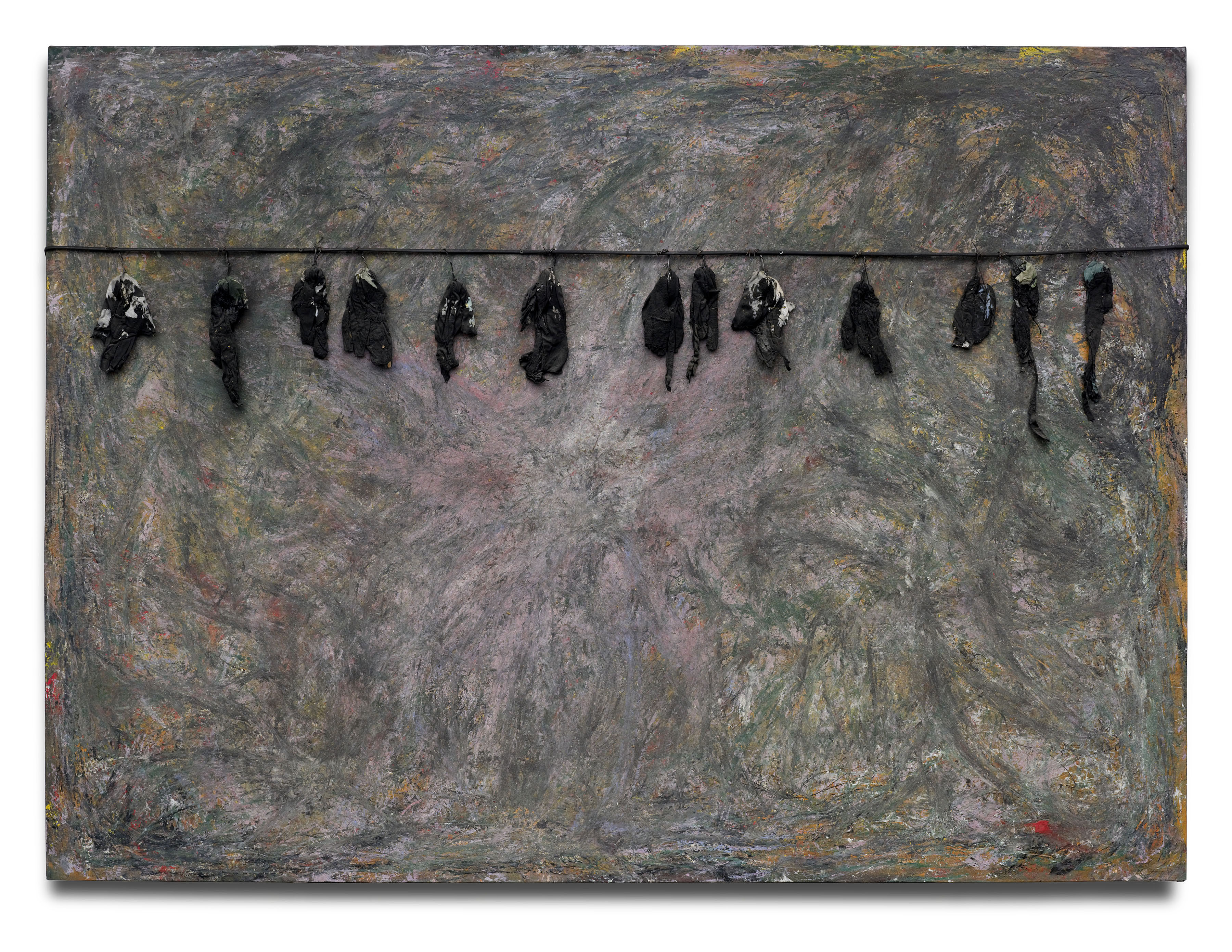 """""""Green Pastures — The Birds That Didn't Learn How to Fly,"""" 2008. © Thornton Dial, image by: Stephen Pitkin/Pitkin Studio Collection of the High Museum of Art"""