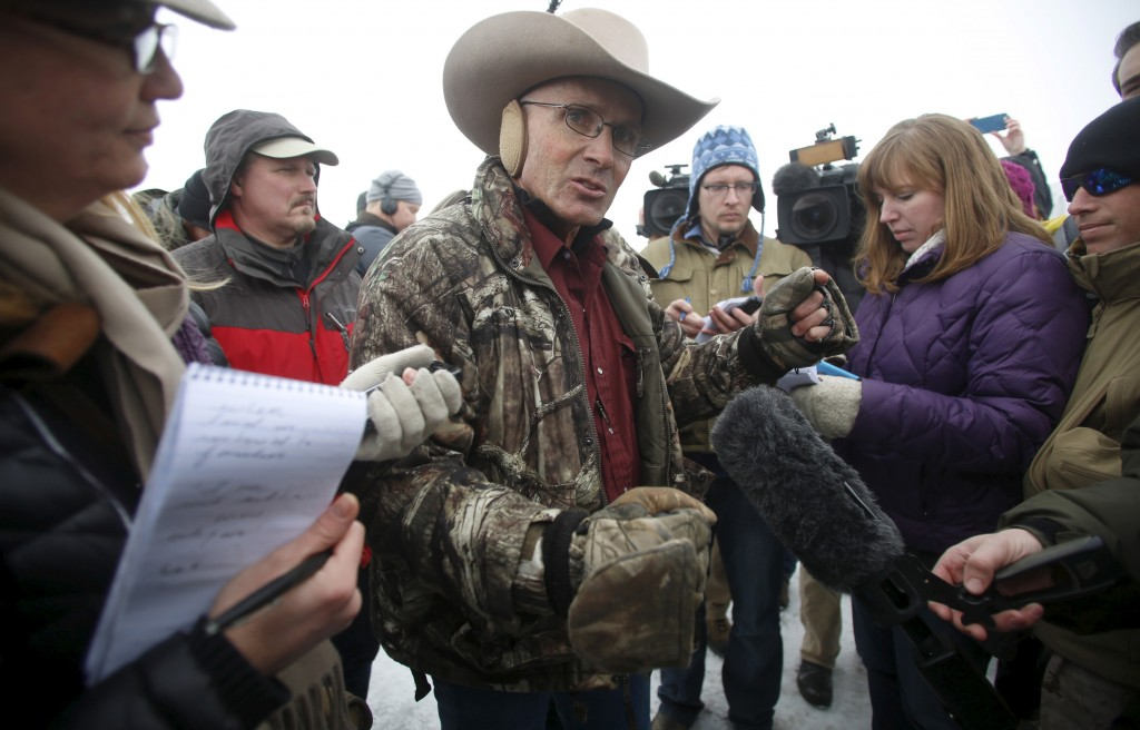 Arizona cattle rancher LaVoy Finicum talks to the media at the Malheur National Wildlife Refuge near Burns, Oregon, on Jan. 5, 2016. Finicum, who often served as a spokesman for the armed occupiers, was killed Tuesday in an altercation with federal authorities. Photo by Jim Urquhart/Reuters