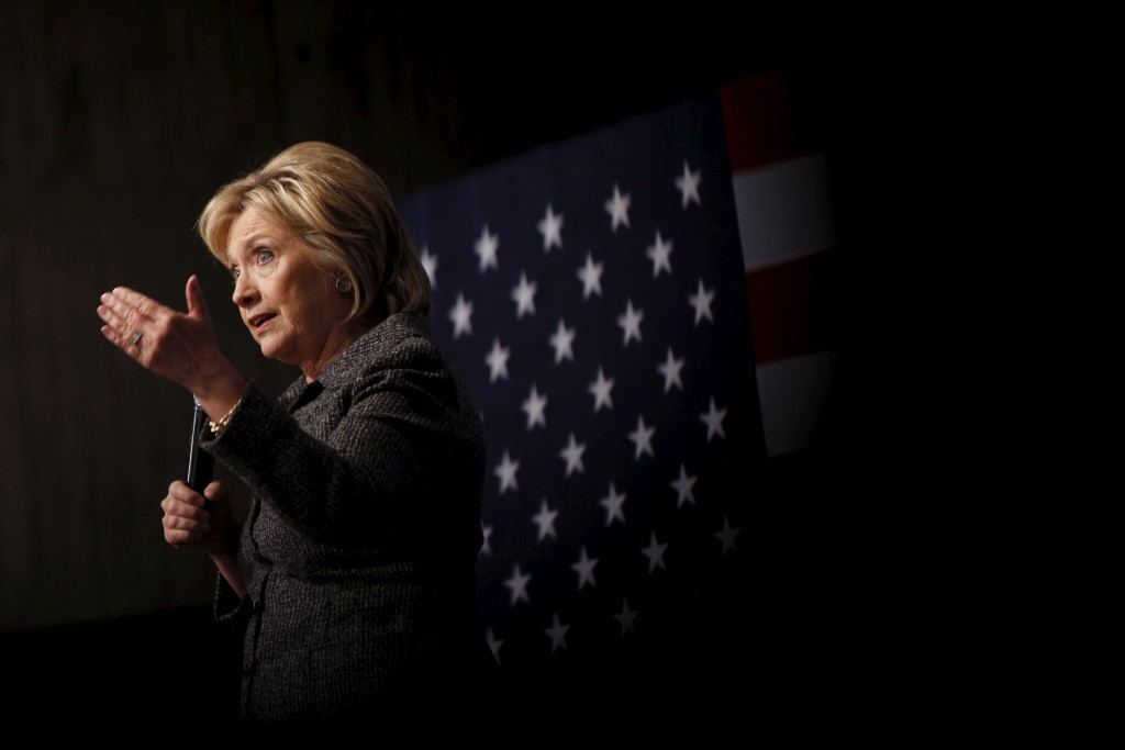 Democratic presidential candidate Hillary Clinton speaks during a campaign rally at Iowa State University in Ames, Iowa, Jan. 12, 2016. Photo by Scott Morgan/Reuters