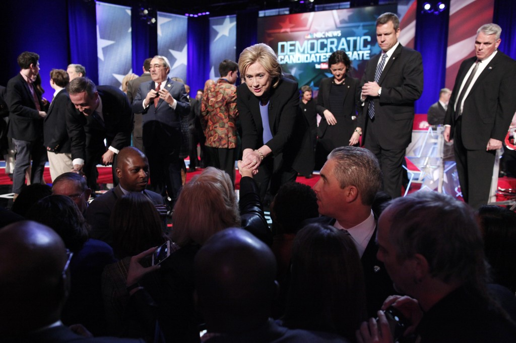 Democratic U.S. presidential candidateand former Secretary of State Hillary Clinton shakes hands with the audience after the NBC News - YouTube Democratic presidential candidates debate in South Carolina January 17, 2016. Randall Hill/Reuters