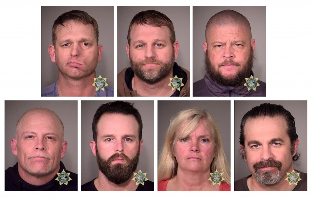 Inmates (clockwise from top left) Ammon Bundy, Ryan Bundy, Brian Cavalier, Peter Santilli, Shawna Cox, Ryan Payne and Joseph O'Shaughnessy are seen in a combination of police jail booking photos released by the Multnomah County Sheriff's Office in Portland, Oregon. All have been found not guilty of conspiracy. Photo by MCSO/Handout via Reuters