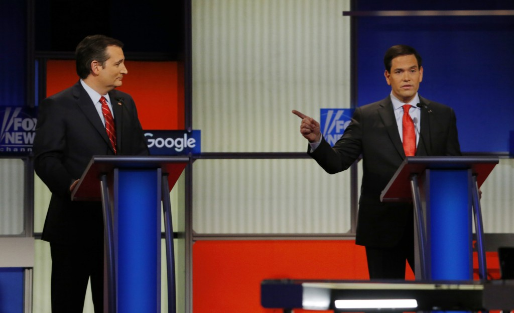 Republican presidential candidate Sen. Marco Rubio Sen. Ted Cruz both called out President Barack Obama on his effort against the Islamic State group. Photo by Carlos Barria/Reuters