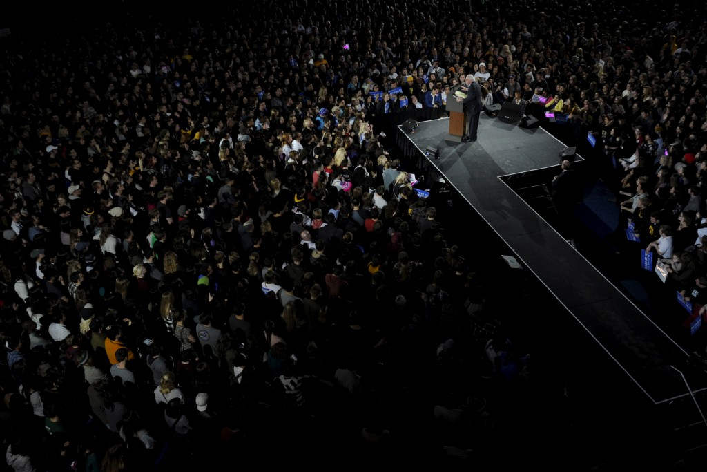 Sen. Bernie Sanders, shown here speaking  at the University of Iowa  January 30, 2016, has used a a message of political revolution that has drawn large crowds REUTERS/Mark Kauzlarich - RTX24R7H