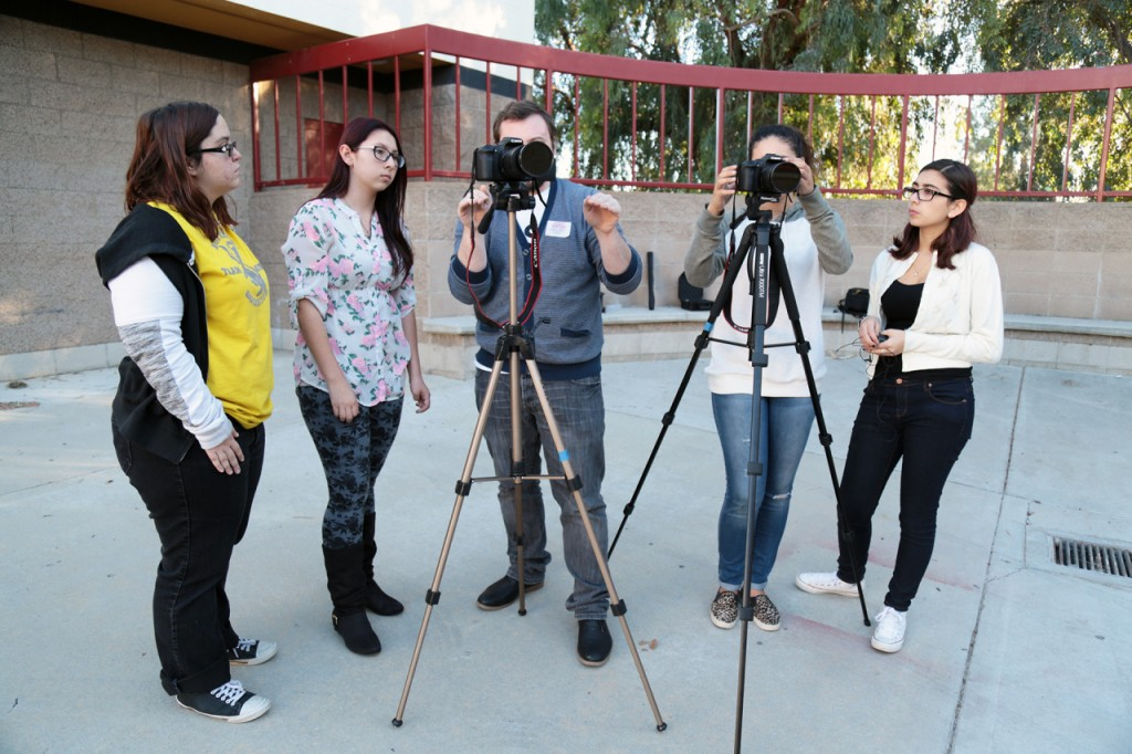 Students learn shooting tips from Student Reporting Lab Producer Matt Ehrichs.
