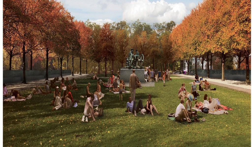An artists rendering of the proposed WWI memorial's focal point, a freestanding sculpture of three servicemen kneeling behind an artillery piece. Image courtesy of Sabin Howard and Joe Weishaar