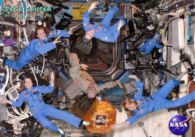 Simulated International Space Station photo with Michael Wilkinson and space friends, Space Center Houston. Photo courtesy of Michael Wilkinson