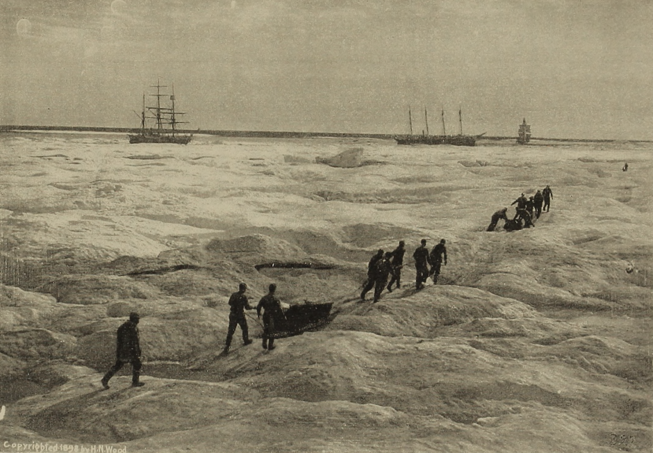 Members of a rescue crew hauling supplies to ice-bound whaling ships. Photo by U.S. Library of Congress