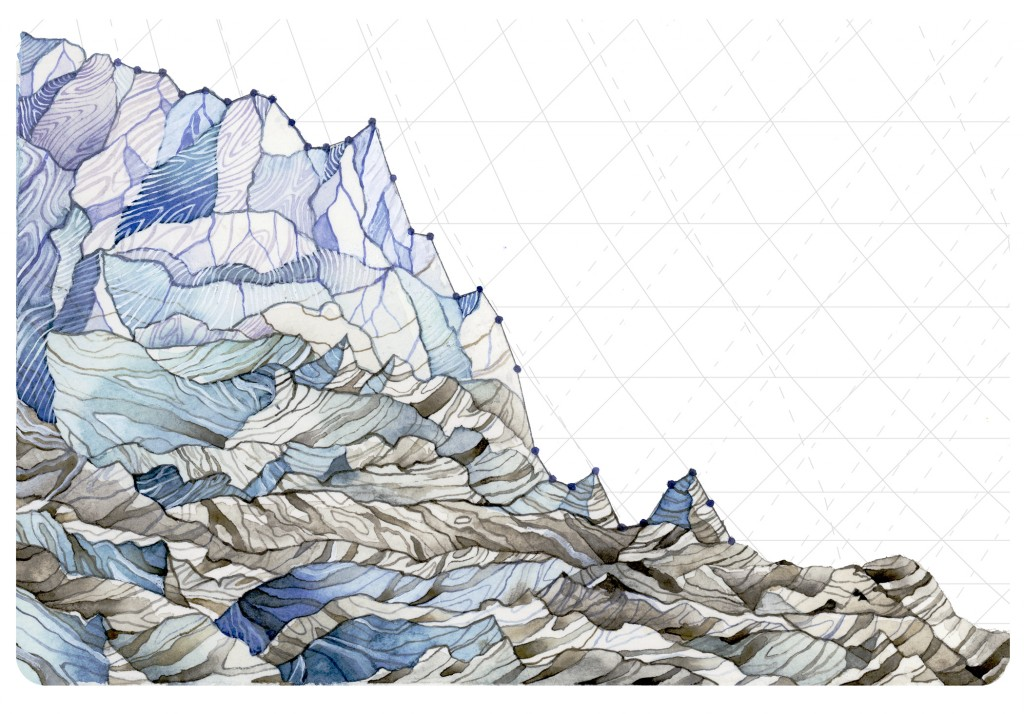 Decrease in Glacier Mass Balance uses measurements from 1980-2014 of the average mass balance for a group of North Cascade, WA glaciers. Mass balance is the annual budget for the glaciers: total snow accumulation minus total snow ablation. Not only are mass balances consistently negative, they are also continually decreasing. Art and caption by Jill Pelto