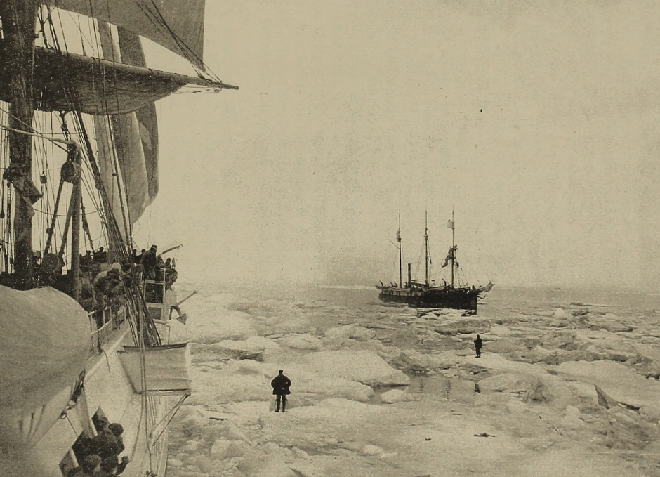 The U.S.S. Bear was dispatched in 1897 by the McKinley administration. It is pictured here getting free from an Arctic ice pack, on Aug. 16, 1898. Photo by U.S. Library of Congress