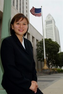 Jacqueline Nguyen, the first Vietnamese-American woman named to the state court in California, is pictured outside the court with Los Angeles city hall in the background on Aug. 15, 2002. Photo by Ken Hively/Los Angeles Times via Getty Images
