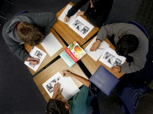 Students work in groups of four during a 7th grade langauge arts class at Santiago Elementray Schoo