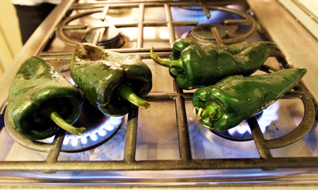 Toast the chiles on an open flame so they become blackened. Photo by Margaret Myers