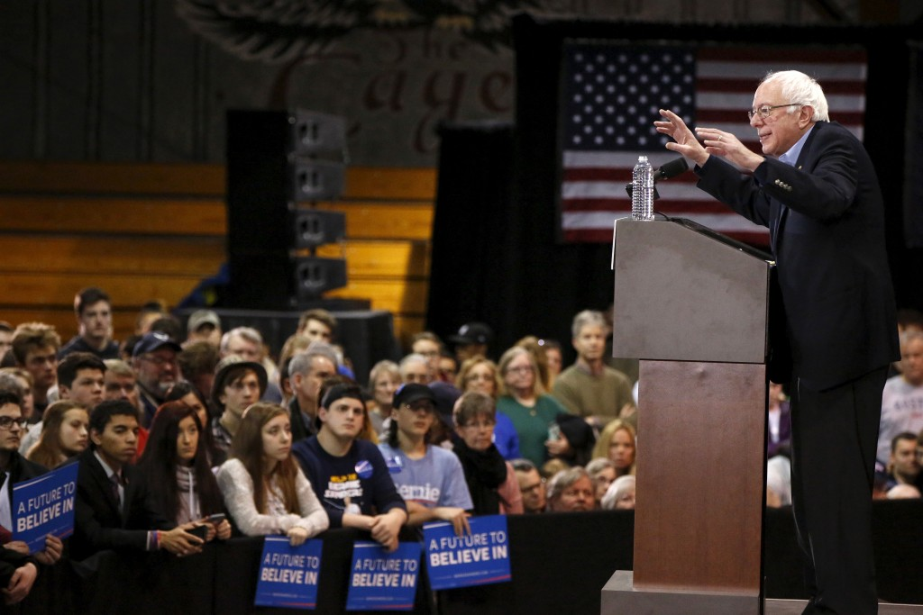 Bernie Sanders  speaks during a rally at Franklin Pierce University in Rindge, New Hampshire on February 6, 2016.   Photo by REUTERS/Shannon Stapleton