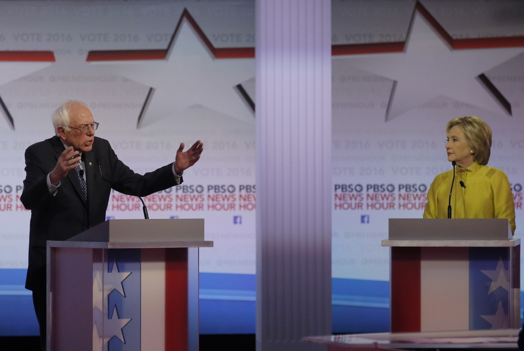 Democratic presidential candidates Sen. Bernie Sanders and former Secretary of State Hillary Clinton sparred at the PBS NewsHour Democratic Debate in Milwaukee. Jim Young/Reuters