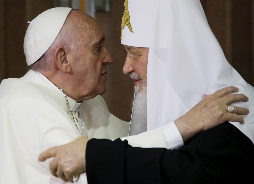 After 1,000 years, they had a lot to catch up on. Pope Francis embraces Russian Orthodox Patriarch Kirill in Havana, Cuba, in February. Photo by Gregorio Borgia/Reuters.