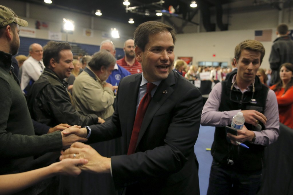 U.S. Republican presidential candidate Marco Rubio shakes hands with supporters as he leaves after a campaign event in North Charleston, South Carolina February 19, 2016 Chris Keane/Reuters
