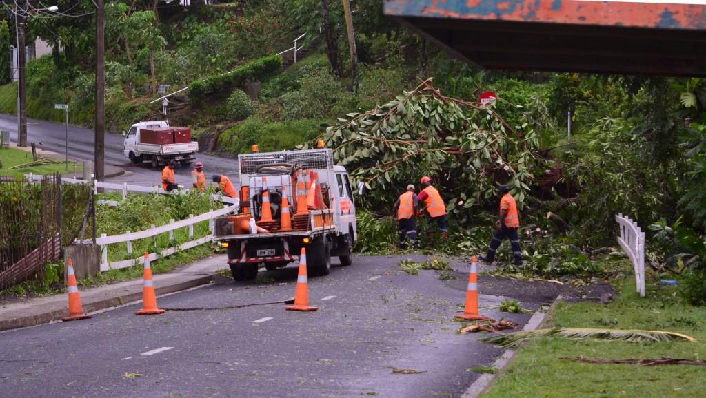 City workers clear fallen trees from a road in Fiji's capital Suva after Cyclone Winston swept across Viti Levu Island. Taniela Qalilawa/Reuters