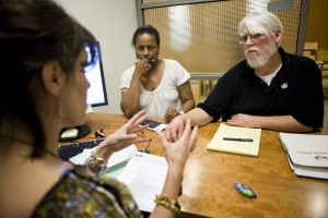 Sherri (C) and Curtis Walker (R) go over retirement options with Calpers Benefit Program Specialist Lisa Bacon (L) at the Calpers regional office in Sacramento, California, October 21, 2009. Calpers, the largest U.S. public pension fund, manages retirement benefits for more than 1.6 million people, with assets comparable in value to the entire GDP of Israel. The Calpers investment portfolio had a historic drop in value, going from a peak of $250 billion in the fall of 2007 to $167 billion in March 2009, a loss of about a third during that period. It is now around $200 billion. REUTERS/Max Whittaker (UNITED STATES BUSINESS) - RTXPWPQ Related words: seniors, retirement, Social Security, planner, older