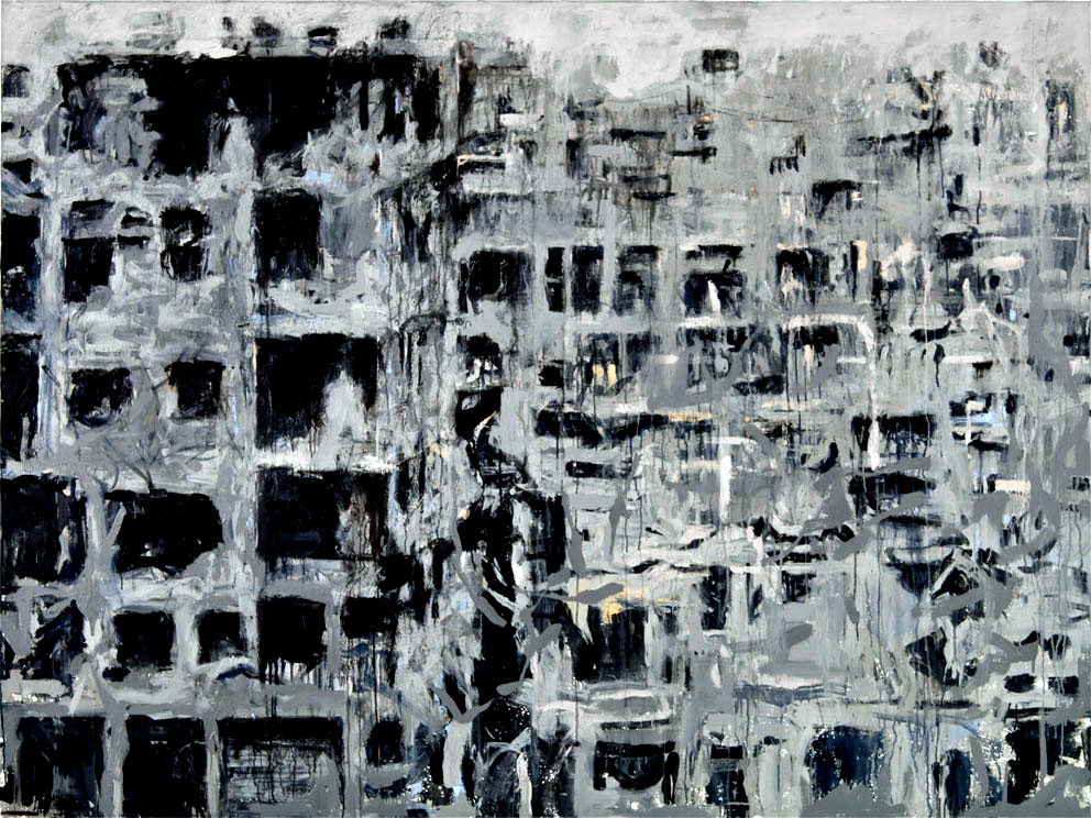 "From ""Storeys"" by Tammam Azzam, 152 X 203 cm, mixed media on canvas, 2014. Image courtesy of Tammam Azzam"